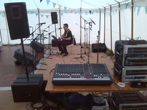Live sound system hire for a wedding band showing equipment